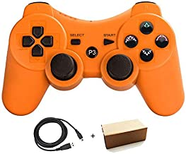 Molgegk Wireless Bluetooth Controller Compatible For PlayStation 3 PS3 Double Shock - Bundled with USB charge cord (Orange01)