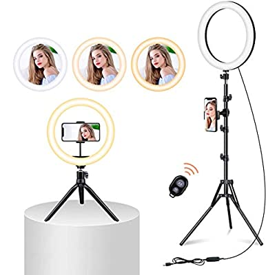 10'' Selfie Ring Light with Tripod Stand,Ring Light with Cell Phone Holder,LED Make Up Light by