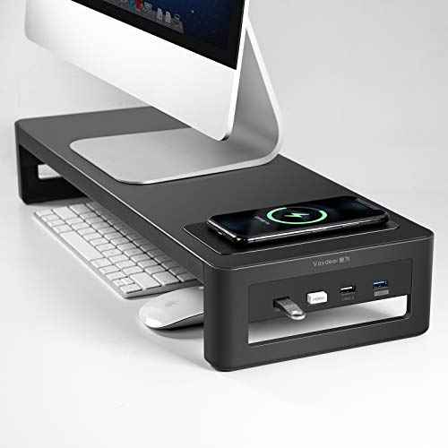 Vaydeer Monitorständer mit Kabelloser Aufladung und USB 3.0/2.0 Hub, Stahl- Monitor Stand Riser Unterstützt Datenübertragung, Metall Monitor Ständer -Unterstützt bis zu 32 Zoll für Computer, Laptop