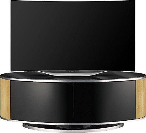 MDA LUNA High Gloss Black and Oak Oval TV Cabinet