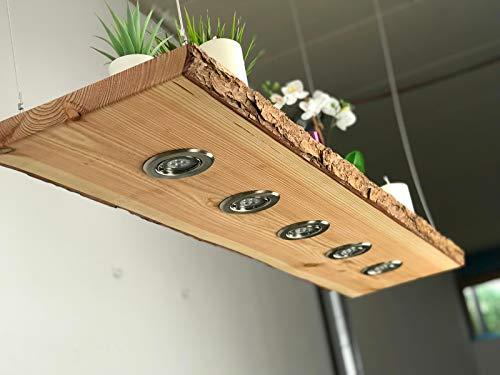 Blockholz-Schmiede Rustikale Holz Pendellampe LED Leuchte - Deckenlampe für Esszimmer und Wohnzimmer – Hängelampe – Smart Home