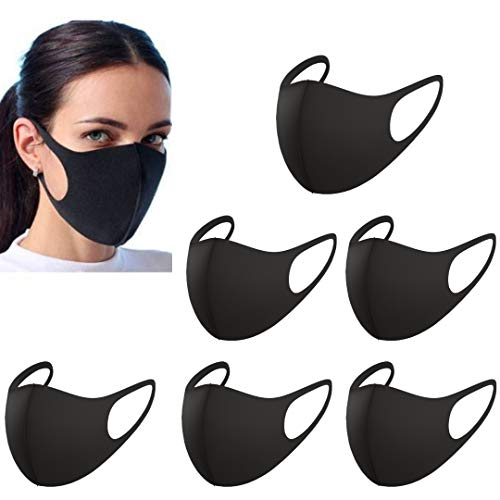 6 Pack Premium Fabric Face Mask Reusable, Washable, Breathable, Nose Wire Black Cloth face Mask - Fashion Cloth Fabric Face Protection with Unisex Earloop