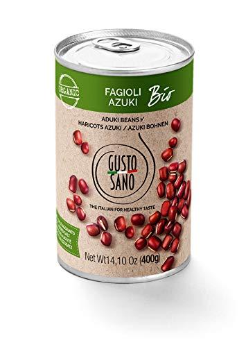 GUSTO SANO AZUKIBOHNEN BIO, Bohnen dose 6 Pack X 400 Gr: 2,4 KG. Bohnen Konserve,Azuki Bohnen, Gekochte rehydrierte Dose und stabilisiert durch einen thermischen Prozess. GVO-frei. Made in Italy 100%