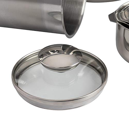 SilverOnyx Canisters Sets for the Kitchen Counter, 10-Piece Stainless Steel Canisters w/Glass Lids