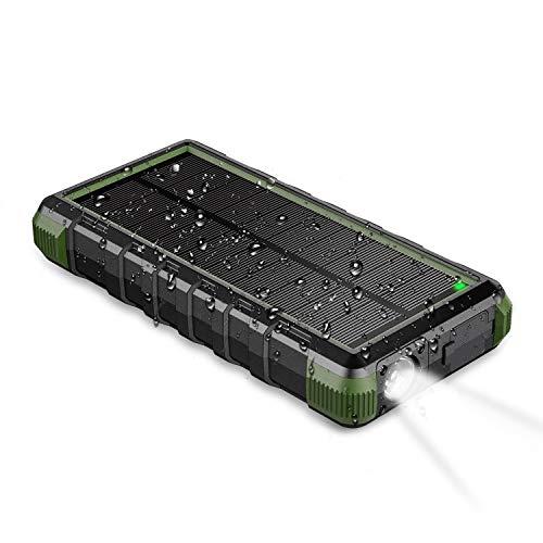 EasyAcc Powerbank 24000mAh Wasserdicht IP66 Outdoor Solar Akkupack USB C Externer Akku mit Taschenlampe für iPhone, iPad, Samsung Galaxy usw. (Elektronik)