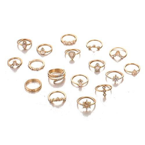 WanBeauty - Conjunto de anillos de dedo bohemio con brillantes incrustados en forma de flor Knuckle y anillos apilables para niñas, regalo para mujeres y niñas 8920