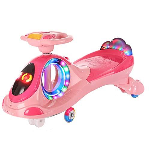 Moolo Kinder Twist Auto, Kinder Spielzeugschaukel mit LED-Licht 1-3-6 Junge/Mädchen Schiebespiele Fitness Yo Gyro Wiggle Scooter Mute Rollover Prevention (Farbe : Rosa)