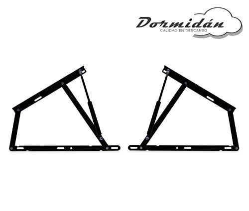 Dormidán - Pack 2 Sistema de elevación con amortiguadores, bisagras + resortes de Gas para canape abatible (1500 Newton)