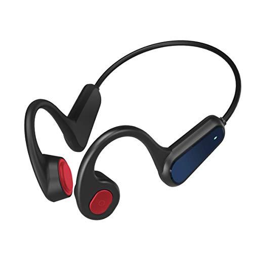 Auricolare Bluetooth a Conduzione Ossea, Auricolare Bluetooth Wireless con Microfono Integrato, Auricolare Sportivo a Prova di Sudore, Supporto per l'interazione Vocale AI (Nero Rosso)