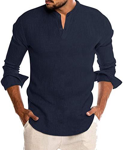 COOFANDY Herren Classic Comfort Leinenhemden Fit Solid Yoga Henley T-Shirt, Navy, Gr. XL