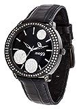 Moog Paris G-Power Montre Femme avec Cadran Noir, Eléments Swarovski, Bracelet Noir en Cuir Véritable - M45022-003