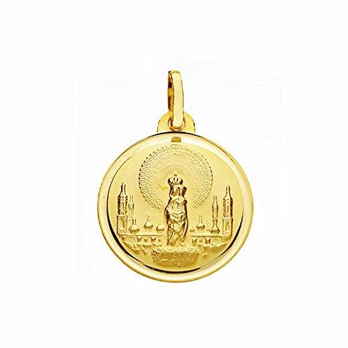 Medalla Oro 18K Virgen Del Pilar 18mm. Lisa Bisel [Aa2576]