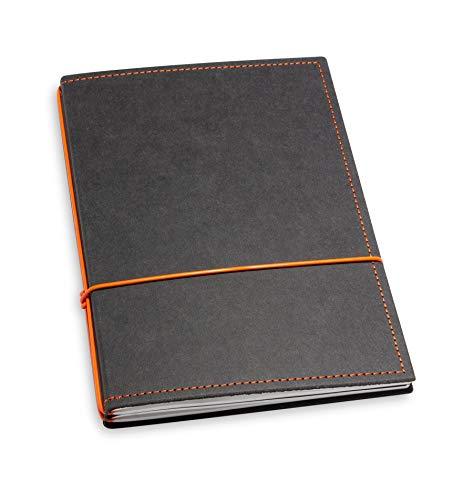 A5, revolutionäres X17-Notizbuch/Personal Organizer! Vegan! Deutsches Zellulose-Material, schwarz + orange; Inhalt: 2 Notizhefte (blanko, kariert) + Doppeltasche austauschbar=nachhaltig!