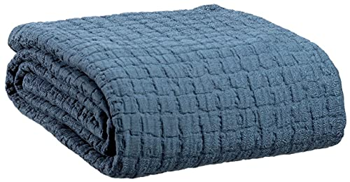 Vivaraise – Colcha Swami – Manta auxiliar cálida para sofá – 100 % algodón lavado Stonewash – Manta Cocooning