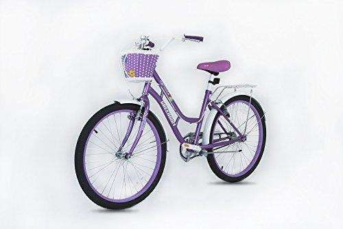 """GW bikes Princess - Bicicleta de 20 pulgadas con cesta, color morado - Apto para niños de 5 a 12 años OL D-Altura de 3 a 10 a 4 6"""""""