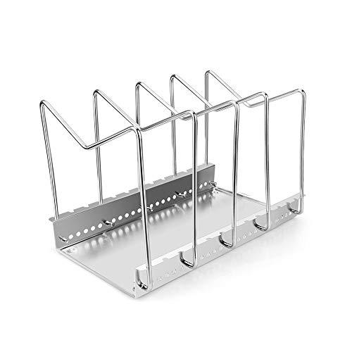 304 Olla de Acero Inoxidable Tapas Rack Pan y Corte del Soporte for la Tapa Tarjeta de la Cocina de Almacenamiento en Rack 6 Compartimentos con Drenaje Herramientas de la Bandeja de Cocina