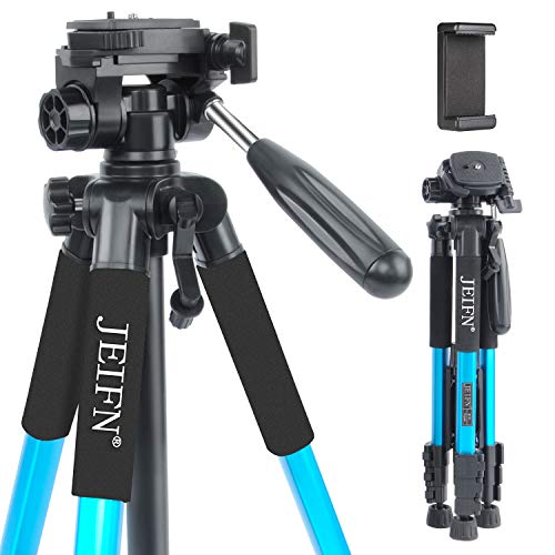 "58"" Lightweight Compact Travel Portable Camera Tripod with Phone Clip for Canon Nikon Sony DSLR Camera Video with Carrying Bag(Blue)"