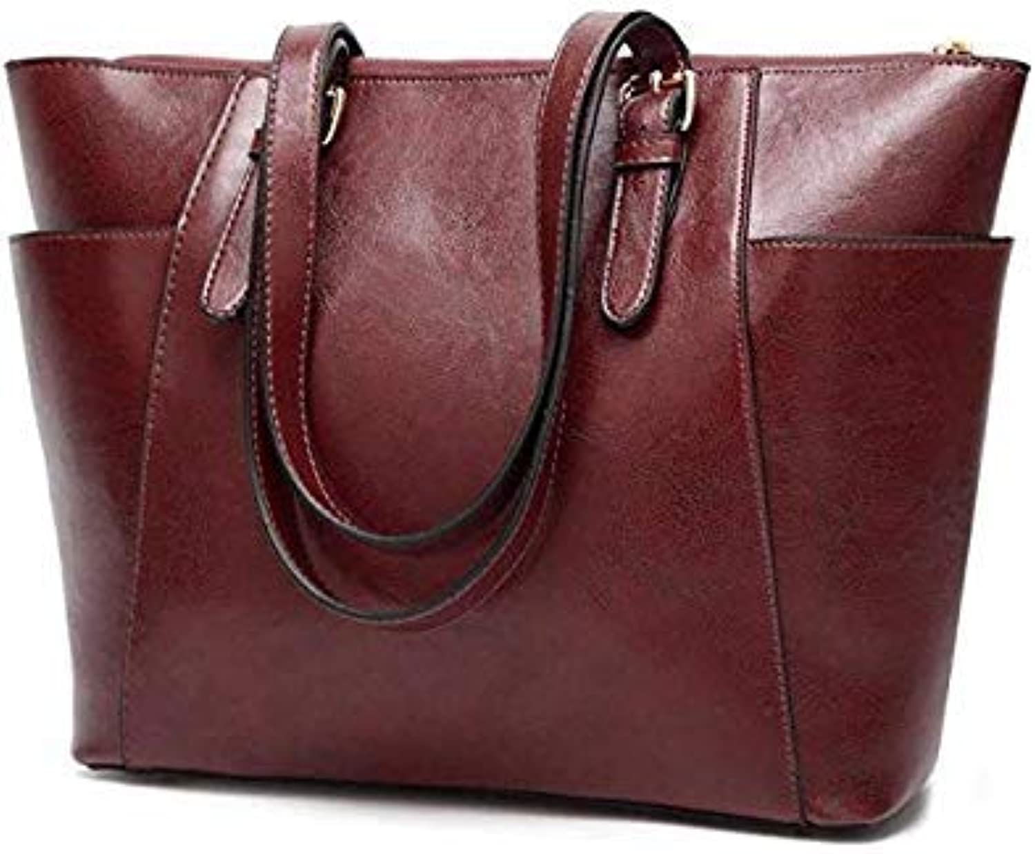Side Pocket Design Women Messenger Bag high Quality Casual Ladies Hand Bags Oil Wax Leather Shoulder Bag Large Capacity Tote Bag Coffee