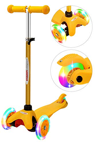 ChromeWheels Scooter for Kids, Deluxe 3 Wheel Scooter for Toddlers 4 Adjustable Height Glider with Kick Scooters, Lean to Steer with LED Flashing Light for Ages 3-6 Girls Boys, Yellow