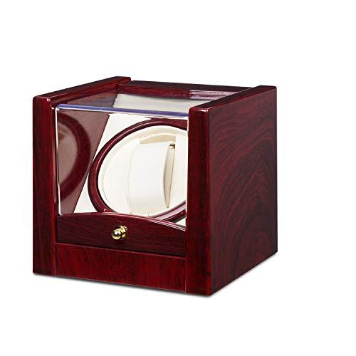 Klarstein Cannes Uhrenbeweger Uhrendreher Uhrenbox Uhrenkasten (für 1 x Automatikuhr, Links-Rechts-Lauf, Sichtfenster, max. 2160 U/ 24h, Kunstleder) Rosenholzoptik