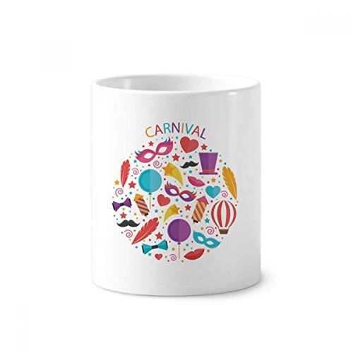 DIYthinker Mask Bowknot Balloon Brazilië Carnaval Keramische Tandenborstel Pen Houder Mok Wit Cup 350ml Gift 9,6 cm hoog x 8,2 cm diameter