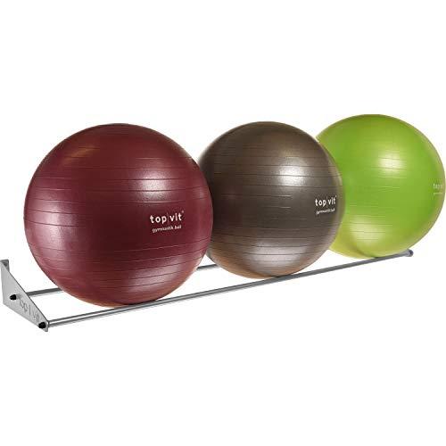 top | vit® Ball.wandhalter - Wandhalterung für bis zu 3 Gymnastikbälle, Silber