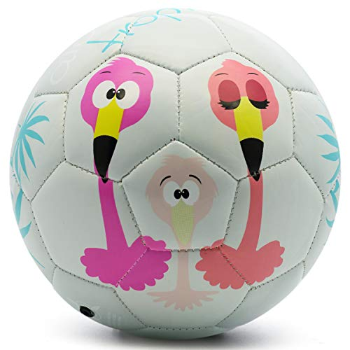 PP PICADOR Fußball mit Ballpumpe, Kinderfußball Größe 1 3 für Kleinkind Jungen Mädchen, Geschenke Spielzeug Ball für Indoor Outdoor Training(Grauer Flamingo, Größe 1)