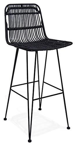 24Designs Barkruk Vallarta - Zithoogte 75 Cm - Zwarte Rotan Zitting - Zwart Metalen Onderstel