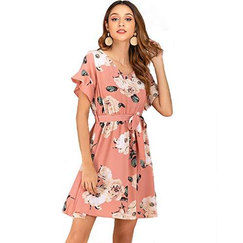 Trompet mouw kanten jurk Vrouwen Nieuwe V-hals met korte mouwen Gedrukt Vrouwen jurk (Size : XL)
