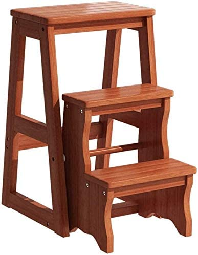 MXueei 3-tier Wooden Step 2021new shipping Max 56% OFF free Stool Folding Bedr Stepladder Portable