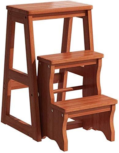 IAIZI 3-dieren-houten trapschuim Folding trapladder draagbare slaapkamer Step multifunctionele ladder rek opslag rek multifunctionele badkruk Stairway stoelen met ruimtebesparende houtbouw