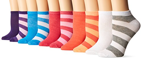 Chatties Women's Petite Printed Low Cut Socks 10 Pack-16, Tonal Stripe Multi, 9-11
