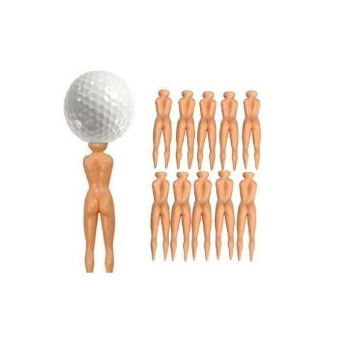 Power Ferhd Nude Echthaar Golf Tees – 6 Stück/3 Pcs nuddie Naked Golfer Ball Tees