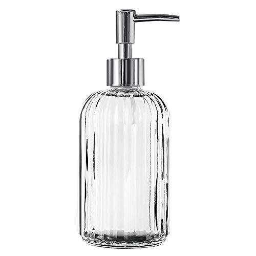 AHNNER Dispenser di Sapone in Vetro 400ml con Pompa Manuale, Dispenser di Sapone Liquido per Mani con Pompa, Bottiglia di Lozione Shampoo per Bagno, Cucina - Trasparente