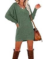 Murushe Women's Loose Plain Long Sleeve T-Shirt Dresses Fashion Elegant V-Neck Casual Short Dress Tops (Small, Green)