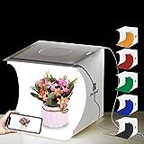 PULUZ - Caja de luz portátil de 20 cm x 20 cm x 20 cm, para fotografía, estudio fotográfico, tienda, mesa plegable, mini kit de iluminación LED con luces LED integradas y 6 fondos de colores