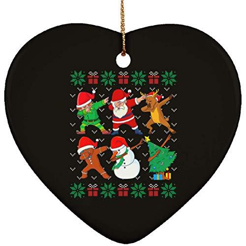 DATDesigns Dabbing Christmas Ugly Xmas Sweater Santa Dab Squad Ceramic Heart Ornament - Christmas Ceramic Heart Ornament