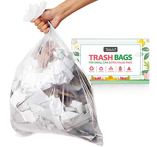 1.2 Gallon Strong Trash Bags Garbage Bags, Bathroom Trash Can Bin Liners, Small Plastic Bags for home office kitchen, fit 5-6 Liter, 0.8-1.6 and 1-1.5 Gal, Clear (80 counts)