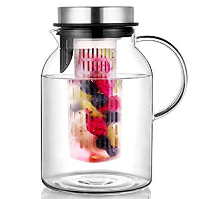 Pitcher, Glass Pitcher, Fruit Infuser Water Pitcher with Removable Lid, High Heat Resistance Infusion Pitcher for Hot/Cold Water, Flavor-Infused Beverage & Iced Tea - 2 Qt by Hiware