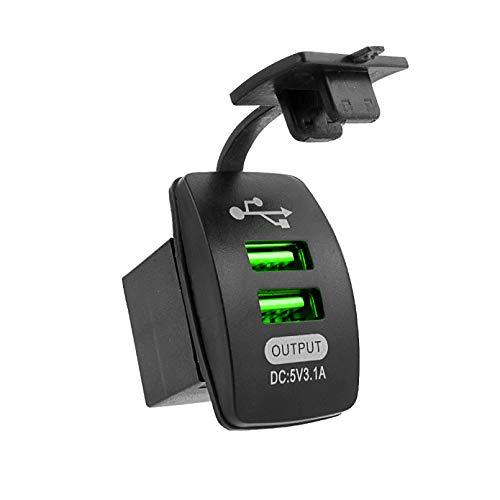 WSZOK Cargador universal de coche 5 V 3.1 A impermeable, doble puerto USB, adaptador de auto a prueba de polvo cargador de teléfono (verde)