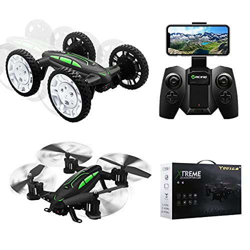 YOOSCA 2.4Ghz Land and Air Dual Mode Remote Control Car and Drone,Drift High Speed Off Road Rc Racing Car, Altitude Hold Headless 3D Flip High-Altitude Rc Drone,14 Night Navigation Lights.(NO Camera)
