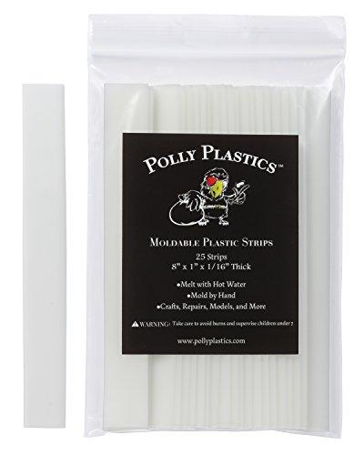 Polly Plastics Heat Moldable Plastic Strips - 25 Strips, 1 x 8 x 1/16
