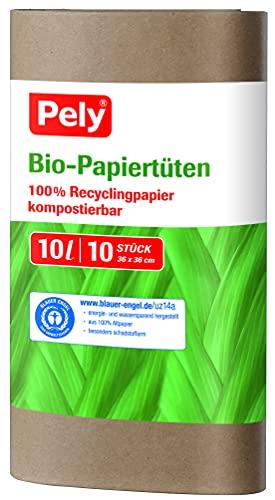 Pely Bio Papiertüten 100 Stück, 10 Liter für die Biotonne oder Kompost, 10 Packungen a 10 Beutel im Karton, nachhaltige Entsorgung ihrer Abfälle