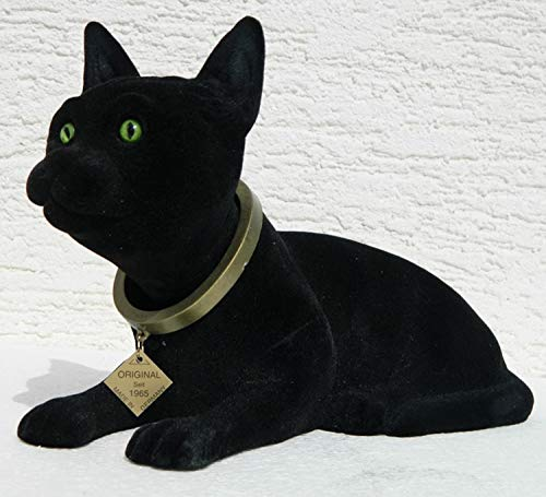RAKSO Wackel Figur Katze Wackelfigur Höhe 17 cm groß schwarz Dekofigur mit Wackelkopf Gartendeko Garten Dekofigur Gartenskulptur