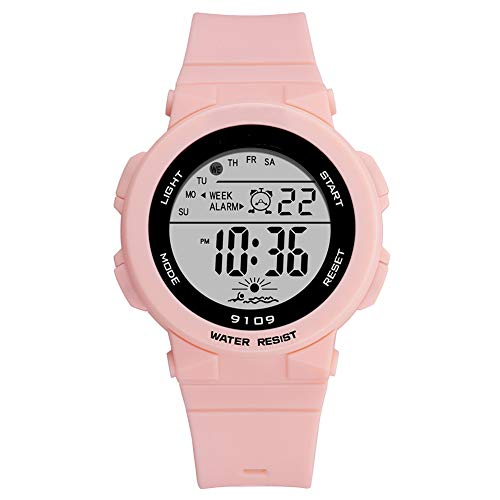 Sports Watch for Women, Women's and Girls' Watch Waterproof Digital Watch with 7 Colors Backlight (Pink)