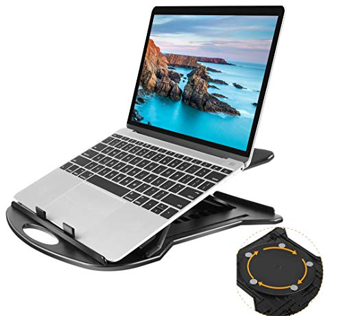 HUANUO Adjustable Laptop Stand with 360 Swivel Base, Fits up to 11-15.6 inch Laptop, 7 Angles Adjustable Portable Laptop Riser for Tablet & Book