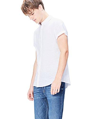Amazon-Marke: find. Herren Hemd Short Sleeve Linen, Weiß (White), XL, Label: XL