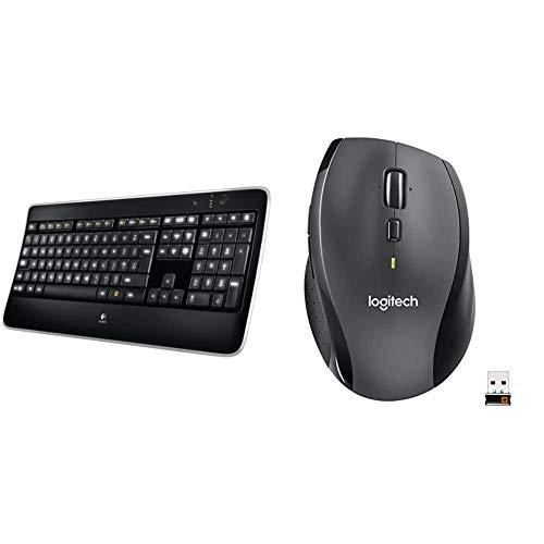 Logitech K800 Illuminated Wireless Keyboard, Black & M705 Marathon Wireless Mouse, 2.4 GHz with USB Unifying Mini-Receiver, 1000 DPI Laser Grade Tracking, 7-Buttons - Black