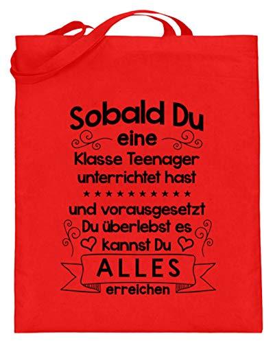 shirt-o-magic Lehrer: Wer Teenager unterrichtet - Jutebeutel (mit langen Henkeln) -38cm-42cm-Rubinrot