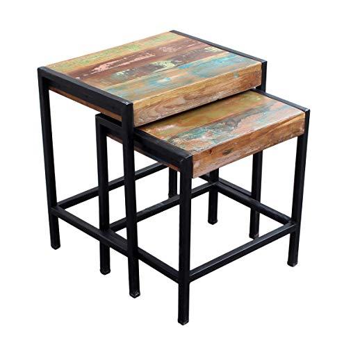 SIT-Möbel Bali 3592-98 2-Satz-Tisch im Factory-Design, Mangoholz, bunt lackiert, 45 x 35 x 50 cm